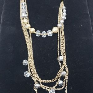 Gold / clear crystals necklace